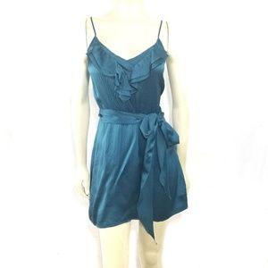 Rebecca Taylor Sea Blue Silk Mini Slip Dress Party